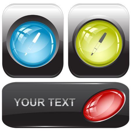 Ink pen.  internet buttons. Stock Vector - 6776925
