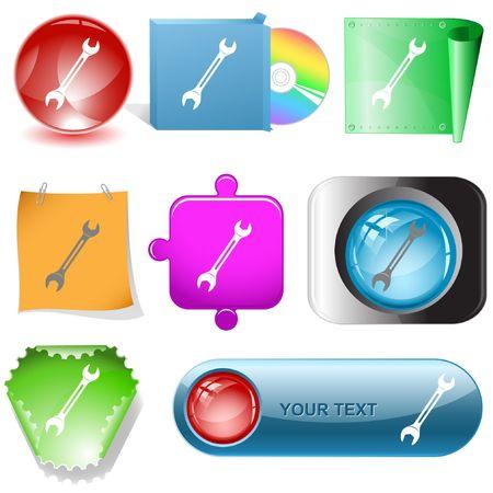 Spanner. internet buttons. Stock Vector - 6777057