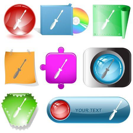 Screwdriver. internet buttons. Stock Vector - 6777054
