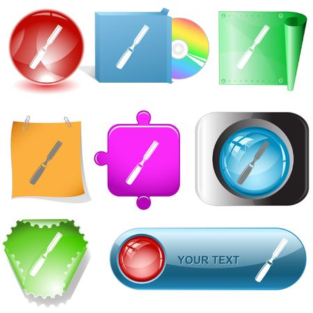Chisel. internet buttons. Stock Vector - 6777232