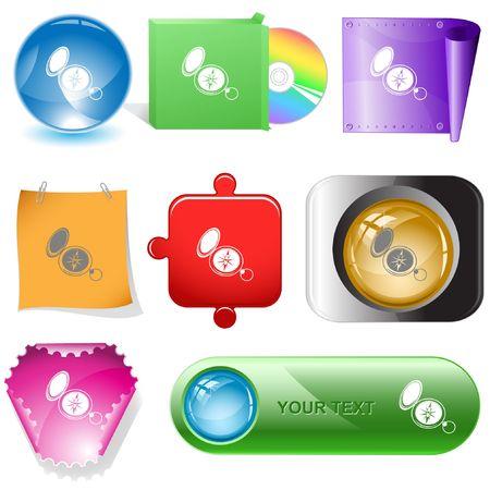 Compass. internet buttons. Stock Vector - 6778159