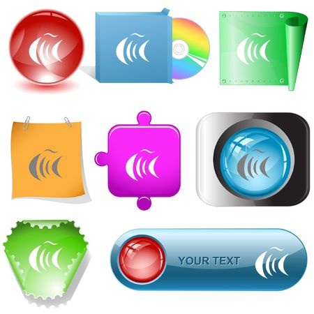 Abstract fish.  internet buttons. Stock Vector - 6777004