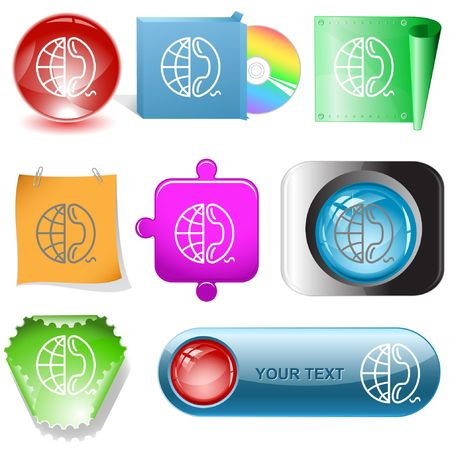 Globe and phone. internet buttons. Vector