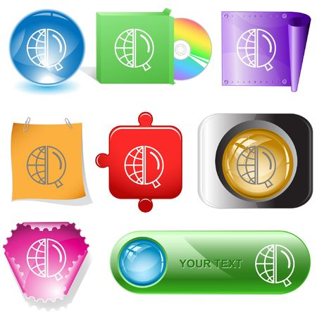 Globe and magnifying glass. internet buttons. Vector