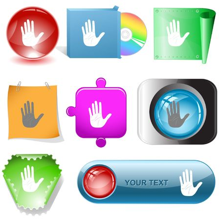Stop hand. Vector internet buttons. Stock Vector - 6778168