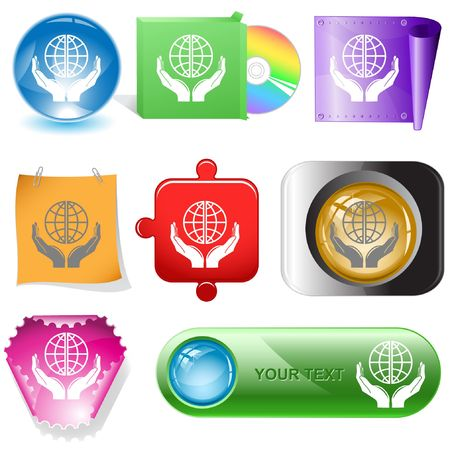 Protection world. internet buttons. Vector