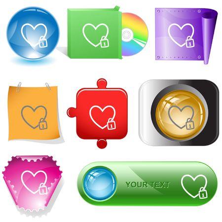 Closed heart.  internet buttons. Vector