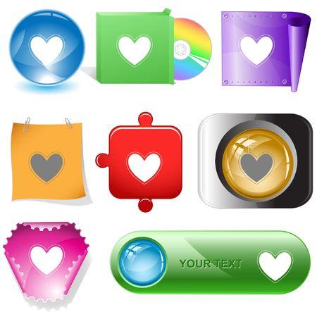 Heart.  internet buttons. Stock Vector - 6776998