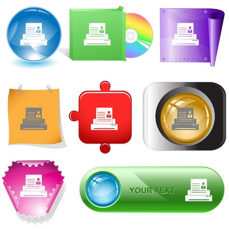 Printer. internet buttons. Stock Vector - 6777222