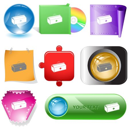 Medical suitcase. internet buttons. Stock Vector - 6777298