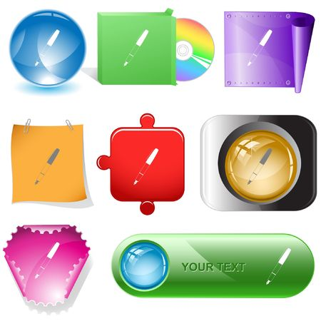 Ink pen.  internet buttons. Stock Vector - 6777069