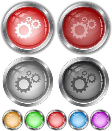 Gears. internet buttons. Vector