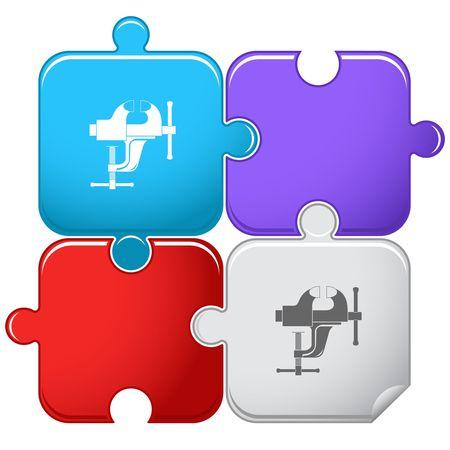 vise: Clamp.  puzzle.