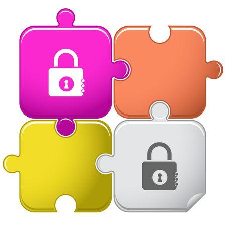 Closed lock. puzzle. Stock Vector - 6774747