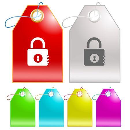 Closed lock.  tags. Stock Vector - 6774777