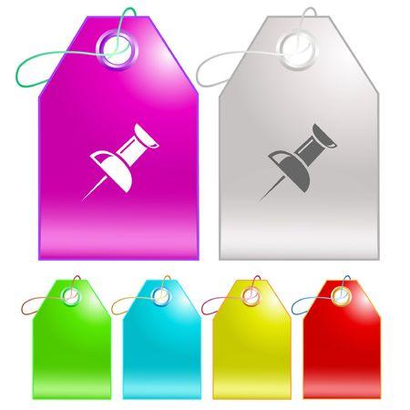 Push pin.  tags. Stock Vector - 6774772