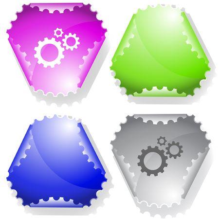 declinate: Gears. sticker. Illustration