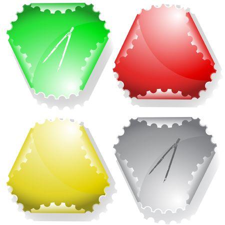 declinate: Caliper. sticker. Illustration