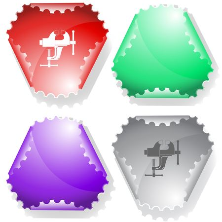 declinate: Clamp. sticker. Illustration