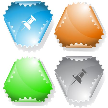 Push pin. sticker. Stock Vector - 6774782