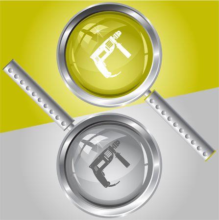 taladro electrico: Taladro el�ctrico.  lupa. Vectores