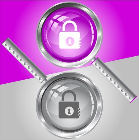 Closed lock.  magnifying glass. Stock Vector - 6778195