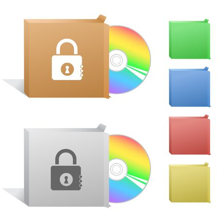 Closed lock. Box with compact disc. Stock Vector - 6774764