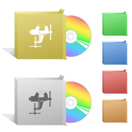 Clamp. Box with compact disc. Stock Vector - 6774776