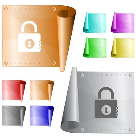 Closed lock. metal surface. Stock Vector - 6778242