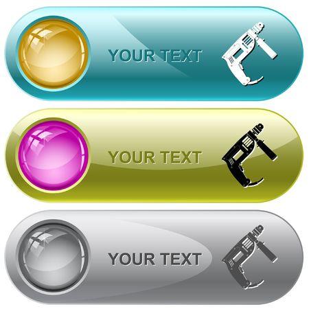 taladro electrico: Taladro el�ctrico. botones de Internet. Vectores