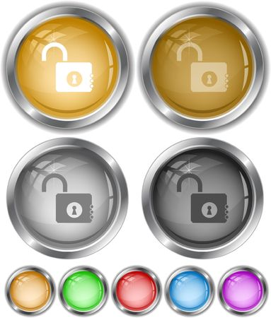 Opened lock. internet buttons. Stock Vector - 6778580