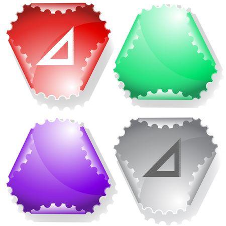 Triangle ruler. sticker. Vector