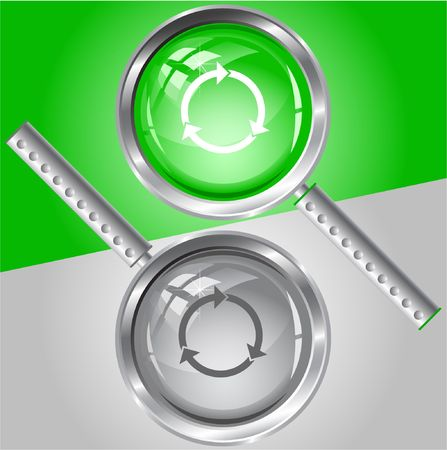 Recycle symbol.  magnifying glass. Stock Vector - 6778282