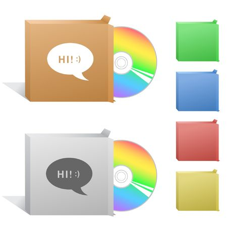 compact disc: Chat symbol. Box with compact disc. Illustration