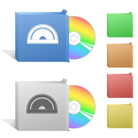 semicircle: Protractor. Box with compact disc.