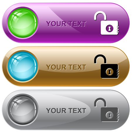 Opened lock.  internet buttons. Stock Vector - 6778350
