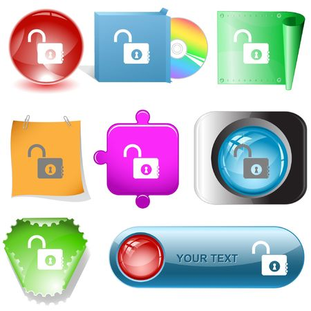 Opened lock. internet buttons. Vector