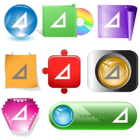 Triangle ruler.  internet buttons. Vector