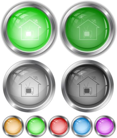 Home TV. internet buttons. Vector