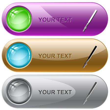 ruling: Ruling pen. internet buttons.