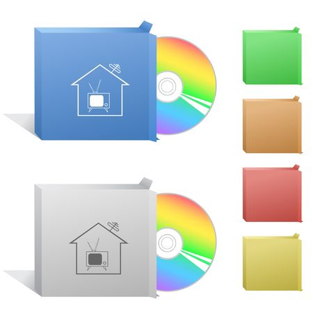 Home TV. Box with compact disc. Vector