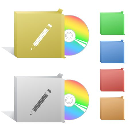 Pencil. Box with compact disc. Stock Vector - 6779168