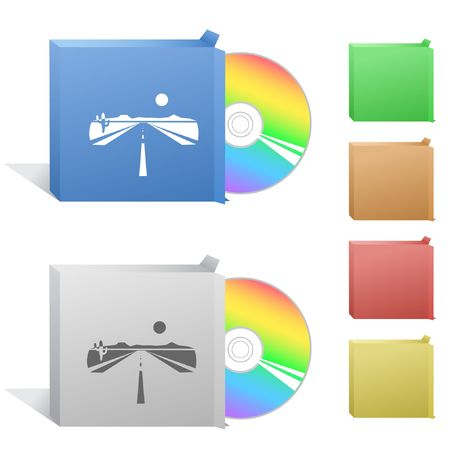 Road. Box with compact disc. Stock Vector - 6779169