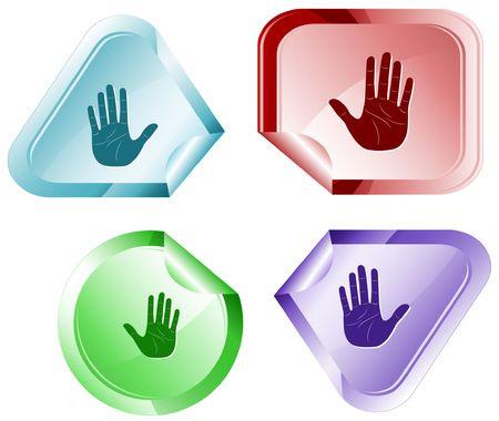Stop hand. sticker. Stock Vector - 6779772