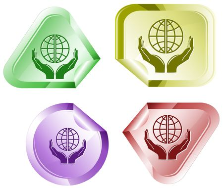 Protection world.  sticker. Stock Vector - 6776079