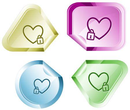declinate: Closed heart.  sticker.