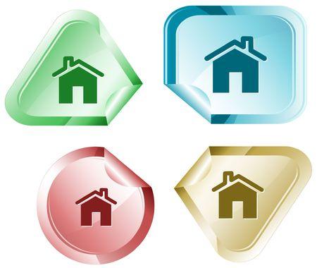 flue: Home.  sticker. Illustration