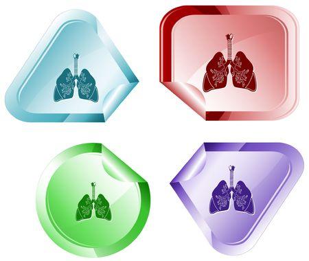 inhaling: Lungs. sticker. Illustration