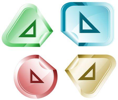 hamose: Triangle ruler.  sticker. Illustration