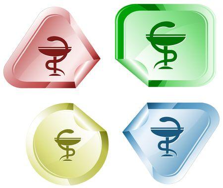 Pharma symbol.  sticker. Vector